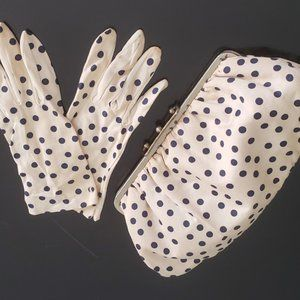 1950's dotted silk purse matching gloves